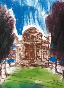 Tempio Voltiano. Acqueforte su rame di Giuliano Collina, stampata da Paolo Aquilini per le Seterie Argenti, 1997