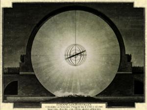 """Etienne-Louis Buollée - Cenotafio """"a Newton"""". Progetti tra il 1783 e il 1785. Spaccato, di notte, con effetto giorno all'interno"""