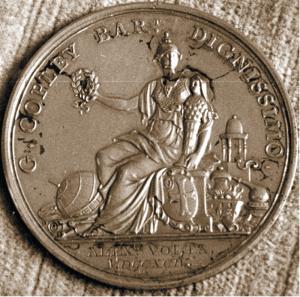 Medaglia Copley assegnata ad Alessandro Volta dalla Royal Society di Londra (Tempio Voltiano, Como)