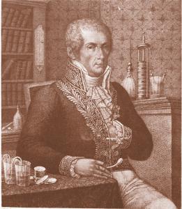 Alessandro Volta in un'incisione di R. Focosi e L. Rados, 1828