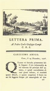 Incipit della Prima Lettera sull'aria infiammabile delle paludi (Milano 1777)