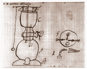 Schizzo di una lucerna ad aria infiammabile metallica (Autografo di Volta, Cart. volt. G.10, Istituto Lombardo)