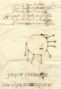 """""""Sperienze con il mortaio elettrico"""" (verso - sotto il disegno è riportato un anagramma; Cart. volt. I2), manoscritto inventariato nel Regesto pubblicato dall'Istituto Lombardo"""