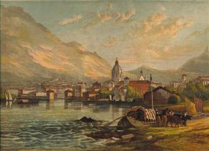 Veduta ottocentesca della città di Como (cromolitografia da George Barnard)