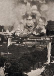 Il furioso incendio che distrusse la prima Esposizione Voltiana, l'8 luglio 1899