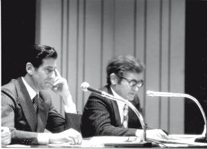Antonio Spallino e Giulio Casati alla chiusura dell'Anno voltiano 1977
