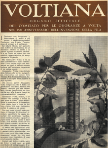 """Numero unico  della rivista """"Voltiana"""" per le Celebrazioni del 1949"""