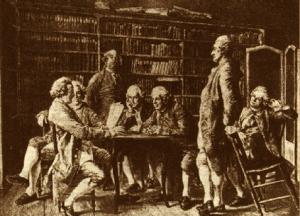 Diderot con alcuni collaboratori dell'Encyclopédie