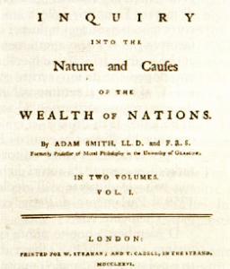"""Frontespizio della """"Richhezza delle Nazioni"""" di Adam Smith"""