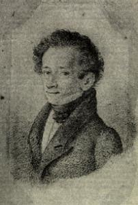 Giacomo Leopardi (1798-1837), ritratto eseguito da L. Lolli nel 1826