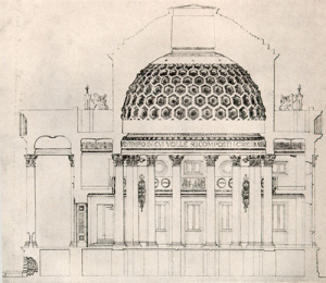 Tempio Voltiano, progetto, sezione laterale
