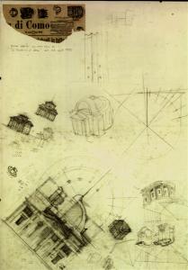 Tempio Voltiano, schizzi dell'architetto