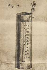 Disegno di termometro per lo studio della dilatazione dell'aria (A. Volta, Memoria sull'uniforme dilatazione dell'aria, dalla Collezione Antinori, Tomo III).