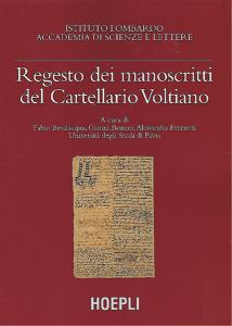 Copertina del Regesto dei manoscritti del Cartellario Voltiano (Istituto Lombardo, Hoepli, 2002)