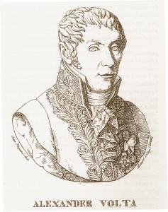 Antiporta con ritratto di Volta, illustrazione tratta dalla ristampa anastatica della Vita di Volta di Tomaso Bianchi