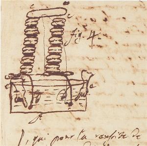 Minuta della lettera di Volta a Joseph Banks. Schizzo di Pila a Colonna, 20 marzo 1800, Cart. Volt. J68, Istituto Lombardo)