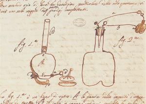 Lettera a padre Barletti. Schizzo dell'accensione di una pistola con la scintilla tratta da un elettroforo, 15 aprile 1777 (Cart. Volt. E1, Istituto Lombardo)