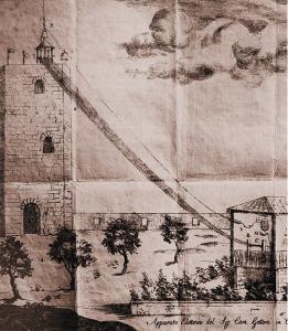 Disegno autografo di Volta, che descrive il dispositivo cosiddetto «avvisatore di temporali» (Cart. volt., Istituto Lombardo)