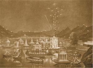 Spettacolo pirotecnico e illuminazione del Lago di Como davanti a Villa Raimondi (Villa Olmo) in onore dell'Imperatore e dell'Imperatrice d'Austria il 28 agosto 1838