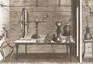 Luigi Galvani, De viribus electricitatis in motu musculari commentarius..., 1792, Tavola II. Esperimento sulle rane in presenza di elettricità atmosferica