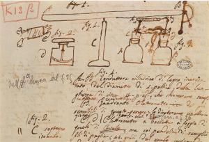 Parte della Memoria seconda sull'elettricità animale, 14 maggio 1792. Schizzi di strumenti utilizzati nelle esperienze con le rane (Cart. volt. K 13_, Istituto Lombardo)