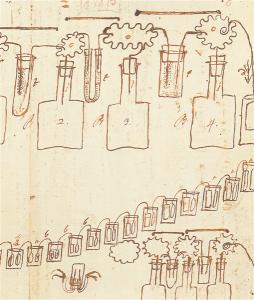 Schizzo schematico della Pila a corona di tazze nella lettera a Marsilio Landriani, post marzo 1801 (Autografo di Volta, Cart. volt. J78 verso, Istituto Lombardo)
