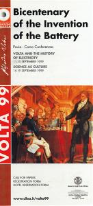 """Locandina dei Convegni """"Volta and the history of electricity"""" e """"Science as Culture"""", che si sono tenuti a Pavia e a Como dall'11 al 19 settembre 1999"""